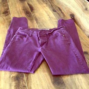 Old Navy Rockstar Distressed purple jeans ax 8